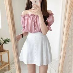 Korean Fashion Dress, Ulzzang Fashion, Kpop Fashion Outfits, Girls Fashion Clothes, Mode Outfits, Skirt Fashion, Fashion Dresses, Skater Fashion, Korea Fashion