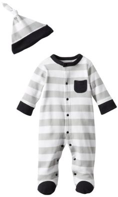 Offspring - Baby Apparel Boys Newborn Stripe Footie And Hat. Coming home outfit possibility??