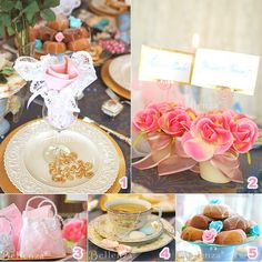 Tea party decorating ideas for place settings, floral place card holders, favors, and sweets