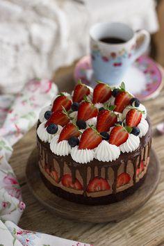 Mousse chocolate y fresas
