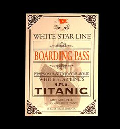 White Star Line Boarding Pass