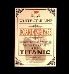 White Star Line Titanic Boarding Pass
