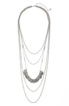 Junior Women's BP. Coin Layering Necklace - Silver Burnish