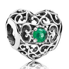 925 Sterling Silver May Signature Heart Bead with Royal-Green Crystal Fits European Jewelry Charm Bracelets Necklaces Pendant