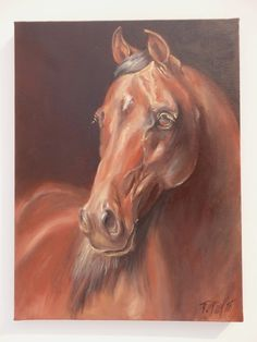 ****************** ORIGINAL EQUESTRIAN ART With LOVE *******************  ORIGINAL OLI PAINTING Hand painted  Animal art especially equestrian painting and drawing is my passion and horses are my passion too. In my artworks I want to convey my love. I offer the originals because associating with original art has a very special, personal message.  HORSE PORTRAIT ON CANVAS  Title :  Brown horse  Technique: oil painting on canvas (hand painted) Size: 12 x 16 inch = 30 x 40 cm Signed : P.Pizl…