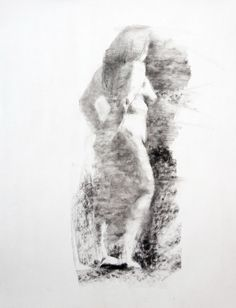 """20111204 CHARCOAL LIFE DRAWING: FEMALE NUDE #11  Drawing, Charcoal on Paper, 24.0""""h x 18.0""""w"""