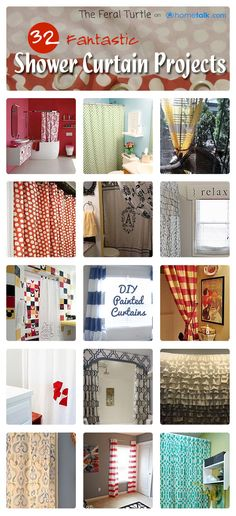 32 Fantastic {Shower Curtain} Projects | curated by 'The Feral Turtle' blog!
