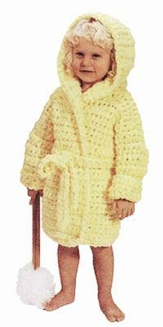 """Crochet Child's Bathrobe - Child 4, Child 5-6, Child 7-8  Child's 4 (6, 8) or to fit chest sizes 23 (25, 27)"""" Finished garment =28 (31, 33½)"""" closed."""