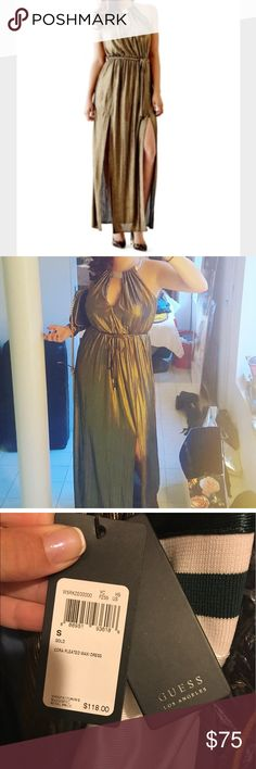 GUESS Metallic Maxi Dress with Gold Choker Detail✨ Be a Grecian beauty with this gorgeous number! Worn once for black tie wedding, fantastic condition, extremely comfortable and flattering. Size small. Reasonable Offers considered 😃 Guess Dresses Maxi