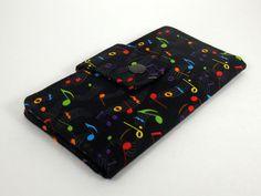 Black Bifold Wallet Fabric Wallet Clutch Wallet by ThePurseCo #wallet #musiclover