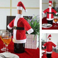 Event & Party Romantic Christmas Wine Bottle Set Santa Claus Button Decor Cover Cap Clothes Pants Kitchen Decoration For Christmas Dinner Party Party Diy Decorations