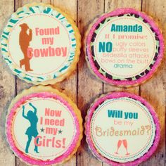Propose to your bridesmaids with unique custom cookies from Fashionably Sweet Treats! #bridesmaidgift #bestbridesmaididea #wedding