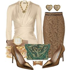 A fashion look from September 2013 featuring white long sleeve shirt, brown skirt and high heel pumps. Browse and shop related looks.