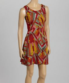 Look what I found on #zulily! Red & Yellow Geometric Sleeveless Fit & Flare Dress by Angie Apparel #zulilyfinds