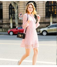 2016 Spring Fashion Bow Tie Hollow Out Long Sleeve Mesh Dress Pink Plus Size Long Sleeve Mesh Dress, Pink Bow Tie, Pink Dress, Spring Fashion, Bows, Dresses With Sleeves, Plus Size, Shirts, Pink Sundress