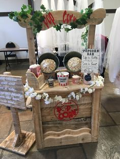 My new rustic popcorn bar ideal for any wedding or party. This is a serve yourself option, plenty of popcorn to go round, freshly popped Wedding Hire, Fall Wedding, Rustic Wedding, Personalised Sweet Bags, Sweet Carts, Candy Cart, Popcorn Bar, Candy Floss, Sleepover Party
