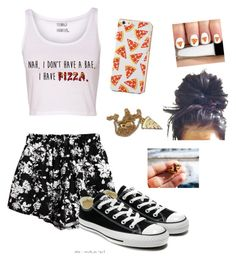 """I love PIZZA!!!"" by abbeynewberry ❤ liked on Polyvore featuring Chicnova Fashion, Junk Food Clothing, Converse and Lazy Oaf"