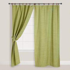 One of my favorite discoveries at WorldMarket.com: Jaya Green Melange Canvas Curtains, Set of 2