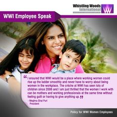 "WWI President Meghna Puri on Policies at Whistling Woods- ""I ensured that WWI would be a place where working women could rise up the ladder smoothly and never have to worry about being women in the workplace. The crèche at WWI has seen lots of children since 2006 and I am just thrilled that the women I work with can be mothers and working professionals at the same time without feeling guilt or having to give anything up."""