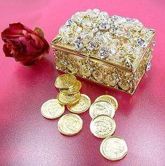 Crystal Gold Wedding Arras Box and Unity Coins / Arras de boda