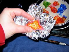 Recreate Chihuly - Use tin foil to pinch into shape while still warm