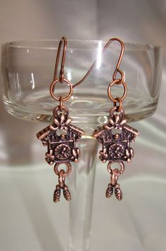 Antique Copper Cuckoo Clock Earrings by GirlieGals on Etsy, $6.00
