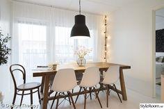 rustik bord,hektar ikea lampa,eames,ljusslinga