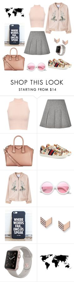 """""""Outside"""" by cj8loves on Polyvore featuring WearAll, T By Alexander Wang, Givenchy, Gucci, MANGO, ZeroUV and FOSSIL"""