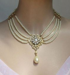 Bridal Pearl Necklace Pearls Gold Bride Choker Bride Necklace Multi Strand Pearls Rhinestone Ivory Pearls Crystal Collar Necklace Weddings - Best Of Daily Sharing Rhinestone Jewelry, Wedding Jewelry, Beaded Jewelry, Jewelry Necklaces, Fine Jewelry, Women Jewelry, Fashion Jewelry, Gold Jewellery, Necklace Ideas