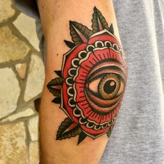 Eye elbow tattoo
