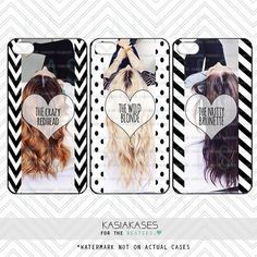 3 BEST FRIENDS PHONE Cases/Blonde, Brunette, Redhead/ Funny Hair Color Friends Descriptions / Chevron Polka Dot Stripes Black and White by KasiaKases on Etsy