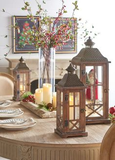 Super Diy Table Centerpieces For Home Flameless Candles Ideas Modern Led Lighting, Table Centerpieces For Home, Christmas Table Centerpieces, Flameless Candles, Led Light Design, Centerpieces, Led Lights, Wooden Lanterns, Table Centerpieces Diy
