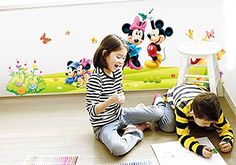 FangeplusTM DIY Removable Disney Mickey and Minnie Mouse Art Mural Vinyl Waterproof Wall Stickers Kids Room Decor Nursery Decal Sticker Wallpaper 354x236 >>> You can find more details by visiting the image link.