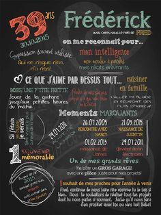 Affiche personnalisée anniversaire pour adulte Célébrons! | 35,00$ #chalkboard #lacraieco