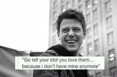 #RIPCoryMonteith. This seriously made me cry. Glee is such a big part of my life and Cory made a big difference in it. I'm definitely going to miss him. Hoping his friends and family are staying strong.
