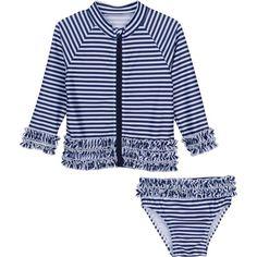 "Baby Girl Long Sleeve Girl Rash Guard Swimsuit Set (2 Piece) - ""Sail Away Stunner"""