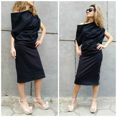 Black Asymmetrical Maxi Tunic Dress Loose by MDSewingAtelier