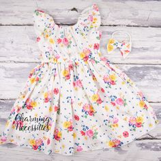 e60b360ada7c Ivory Pink Yellow and Blue Floral Flutter Sleeve Peasant Dress and Bow  Headband Set, Baby