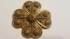 Vintage ETRUSCEANA Rice Weiner gold tone Flower 1940s Brooch