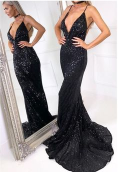 sexy mermaid long black sequined prom dresses,spaghetti straps backless v neck shiny party dress