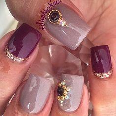 #taupe#plum#plumlove#rosegold#silver#glitter#cutenails#lodinails#notpolish#taupenails#custommix#diamonds#studs#stephsnails#stephset
