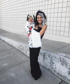 """Cruella and my Dalmatian ⚫️⚪️⚫️ His black nose didn't last long  #alloverhisface #happyhalloween #101dalmations"""