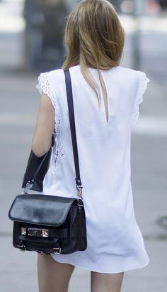 LWD little white dress proenza schouler PS11 bag