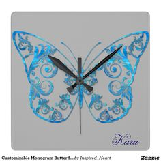 Customizable Monogram Butterfly Square Wall Clock