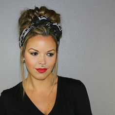 Messy bun with scarf, updo