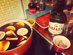 Homemade glögg with cherry wine and port