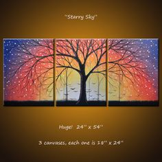 """Items similar to Art Painting Triptych Original Large Abstract Modern Contemporary Trees Landscape . x """"Starry Sky"""" by Amy Giacomelli on Etsy Grand Art Mural, Rainbow Painting, Extra Large Wall Art, Acrylic Canvas, Picture On Wood, Tree Art, Landscape Art, Original Paintings, Canvas Paintings"""