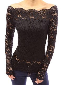 Stylish Slash Collar Off-The-Shoulder Long Sleeve Solid Color Lace T-Shirt For…