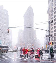 Santas coming to town. Throwback to SantaCon on December Flatiron District Photo; Flatiron Building, Chrysler Building, New York City Photos, World Travel Guide, Christmas Travel, I Love Ny, Dream City, Cool Photos, Places To Visit