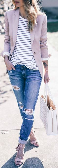 casual style obsession / blush blazer + stripped tee + boyfriend jeans + bag + heels